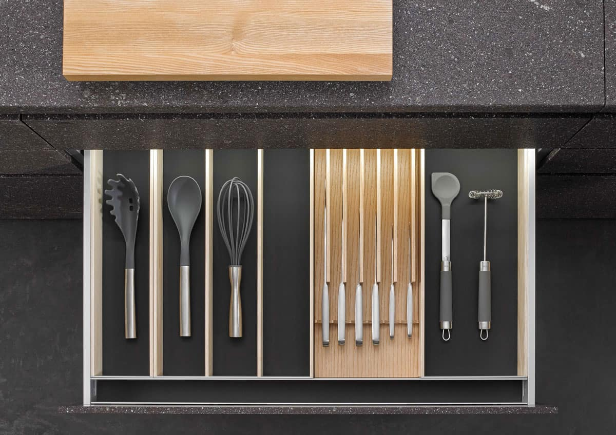 BoxTec - Light Ash utensil storage and magnetic knife block storage