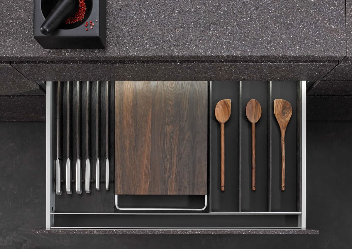 BoxTec - Smoked Oak cutting board with handles, knife block, utensil storage