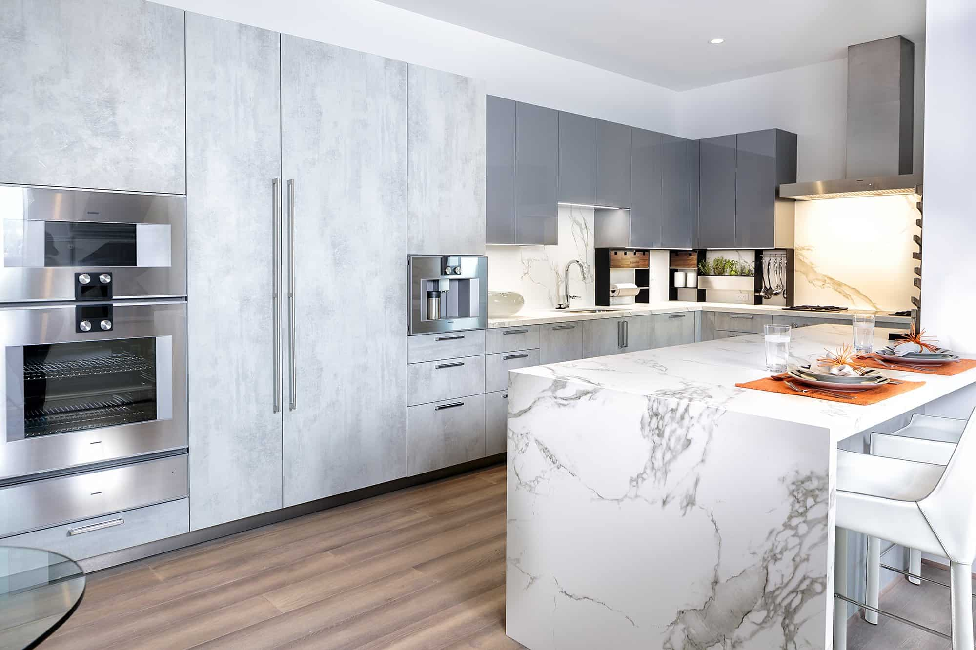 Concrete Decor and Grey High Gloss