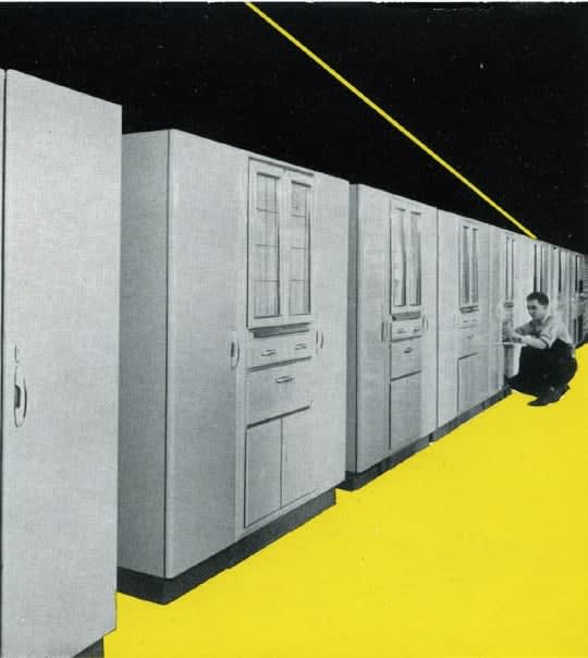 wilhelm eggersmann founder of eggersmann kitches with early models of his modular kitchen cabinets