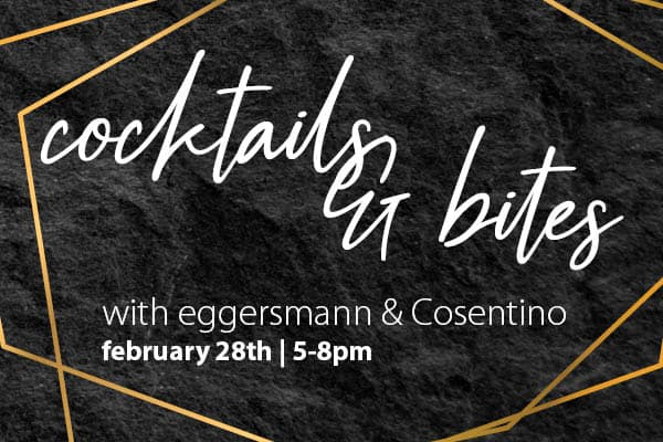 invitation for cocktails and bites event at eggersmann la sponsored by cosentino