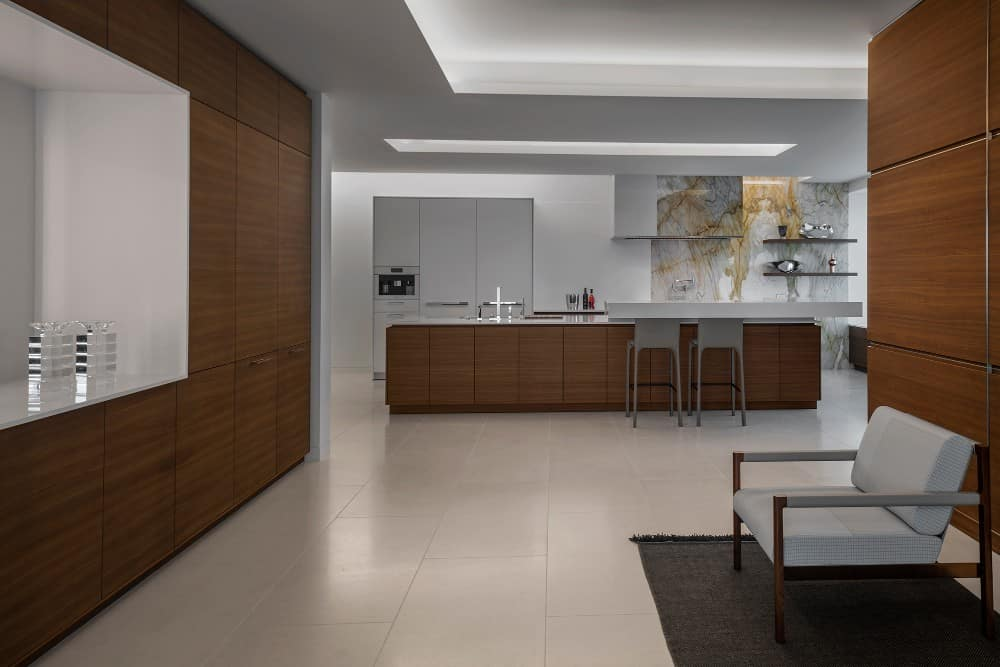 warm Walnut Satin and Matte White finishes used in this contemporary kitchen
