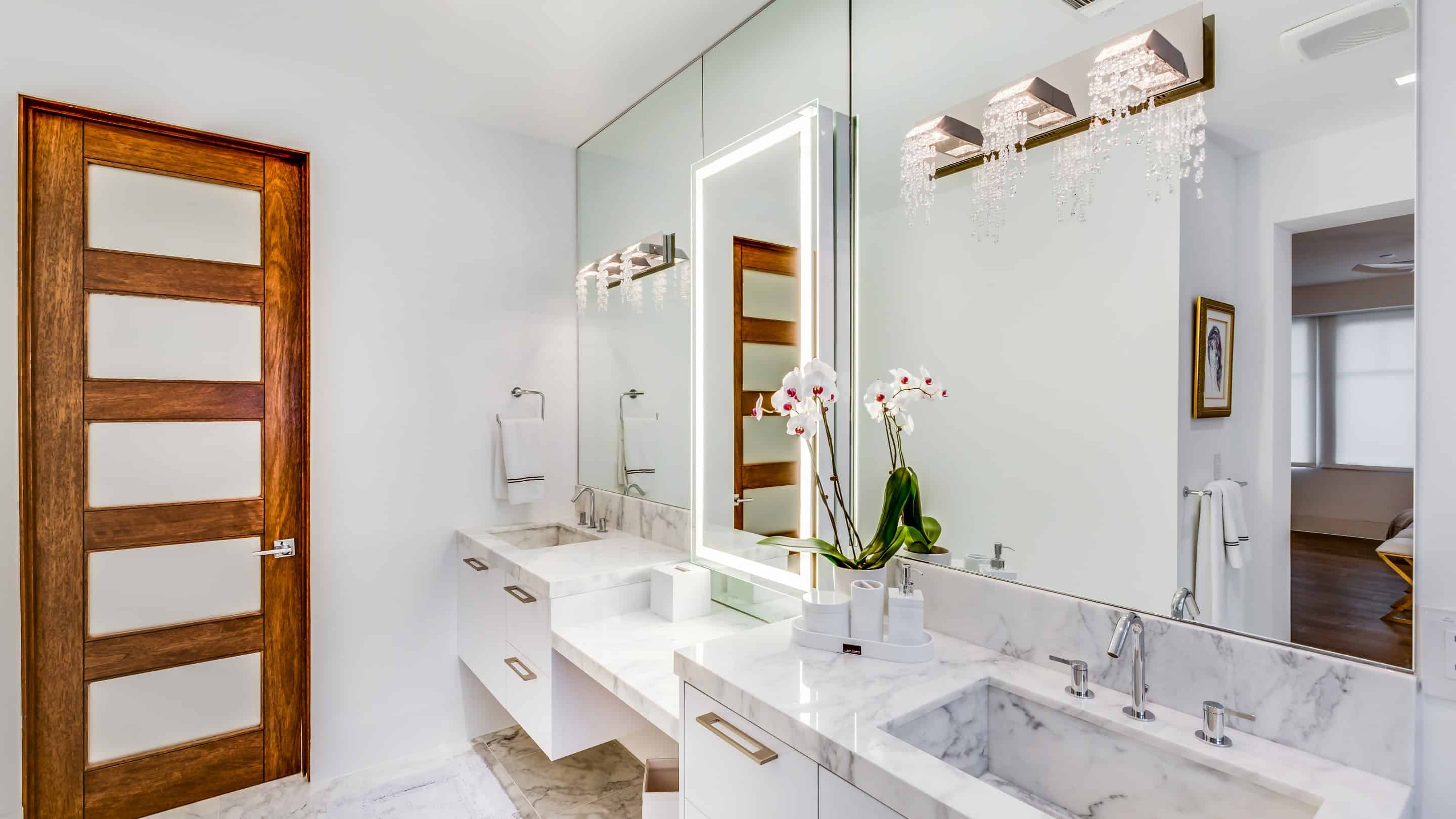 Lots of storage and classic style in this modern bathroom by eggersmann