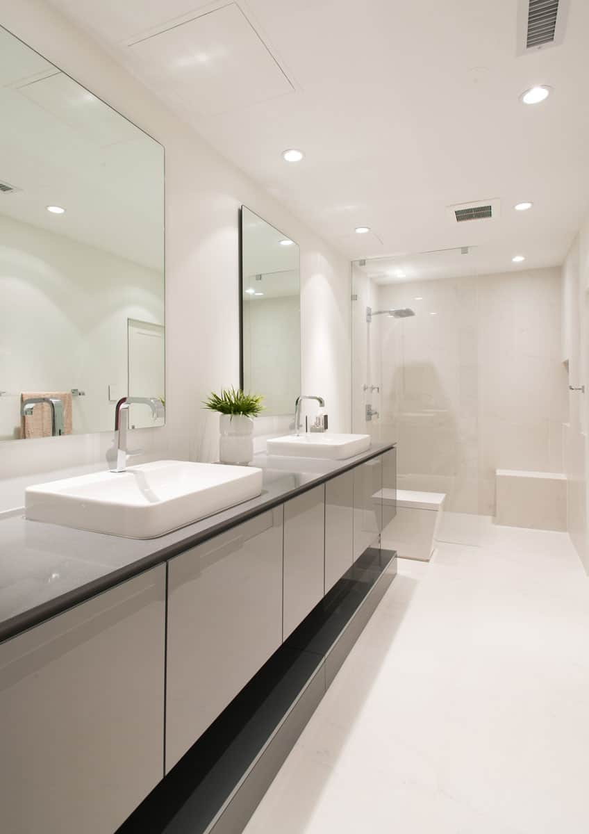 sleek bathroom vanity and monochrome palette are ultra modern in this eggersmann design