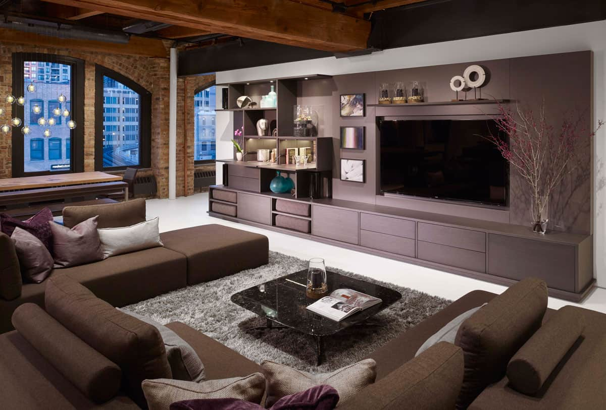 media room with custom designed built-in for electronics and art displays by eggersmann