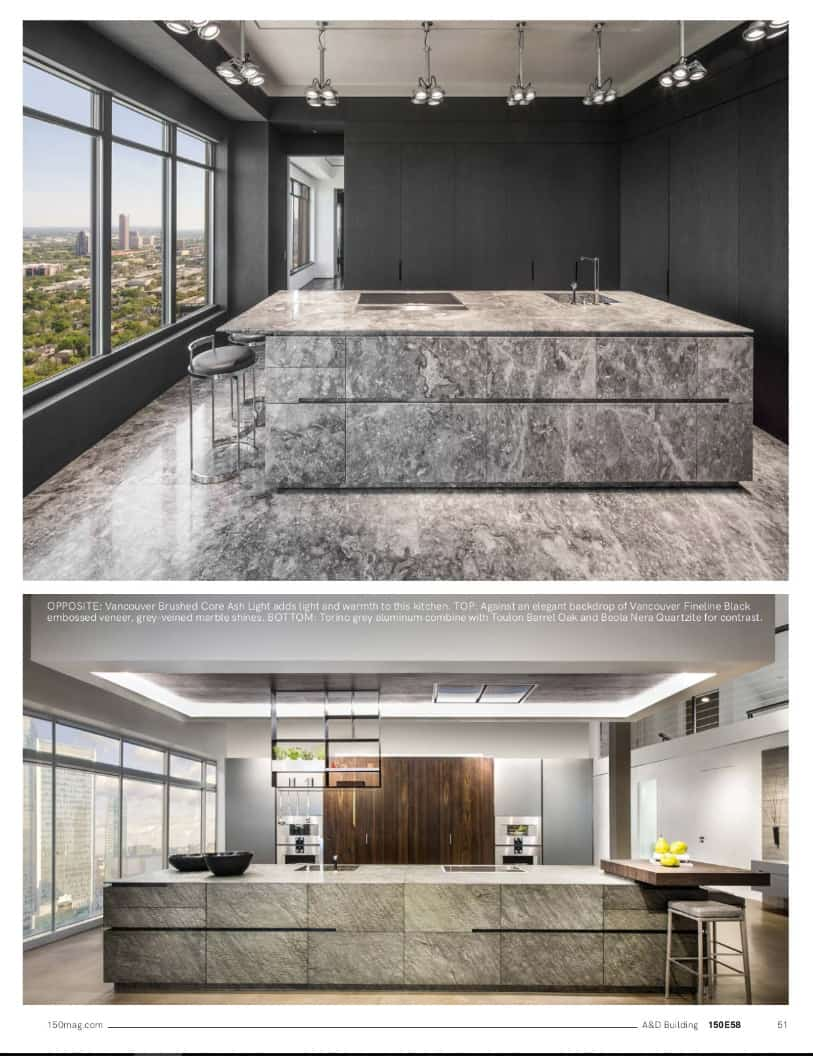 images of stone cabinetry in eggermann's unique line featured in 150 e58 spring 2019 issue of the a&d building magazine