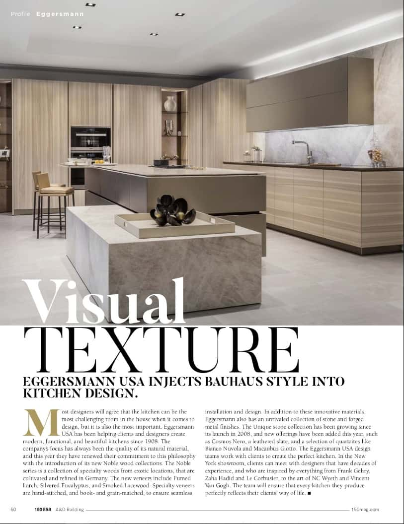 article about eggersman in 150 e58 spring 2019 issue of the a&d building magazine