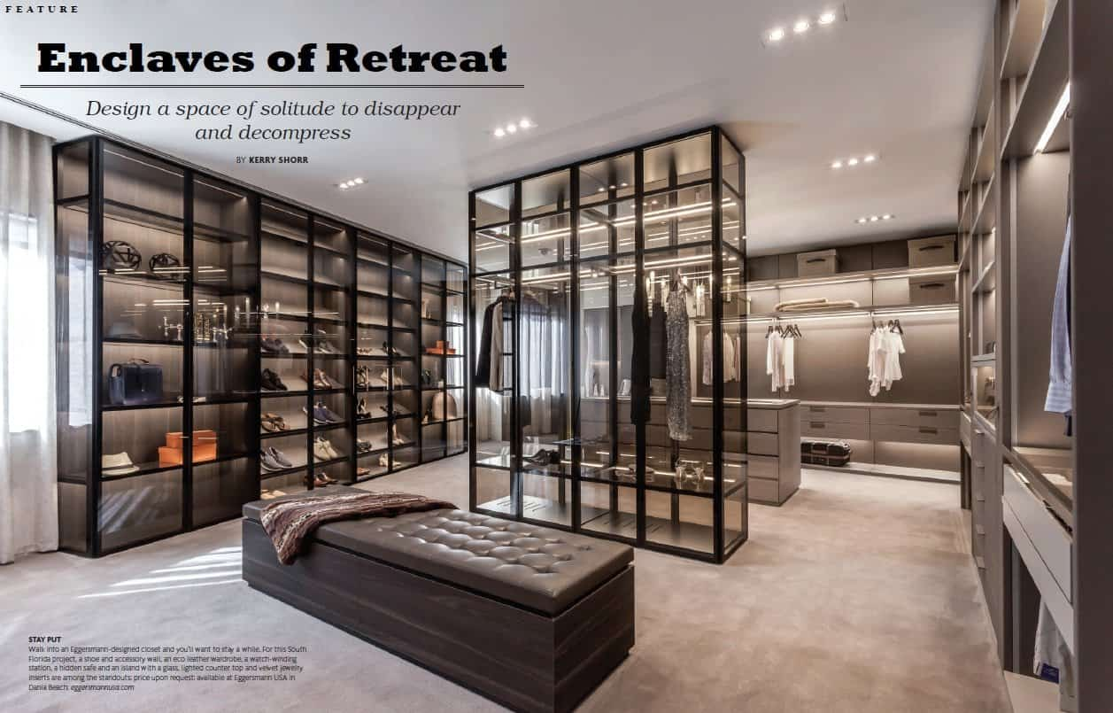 """kerry schorr's """"enclaves of retreat"""" article opening page featuring an eggersmann-design closet"""