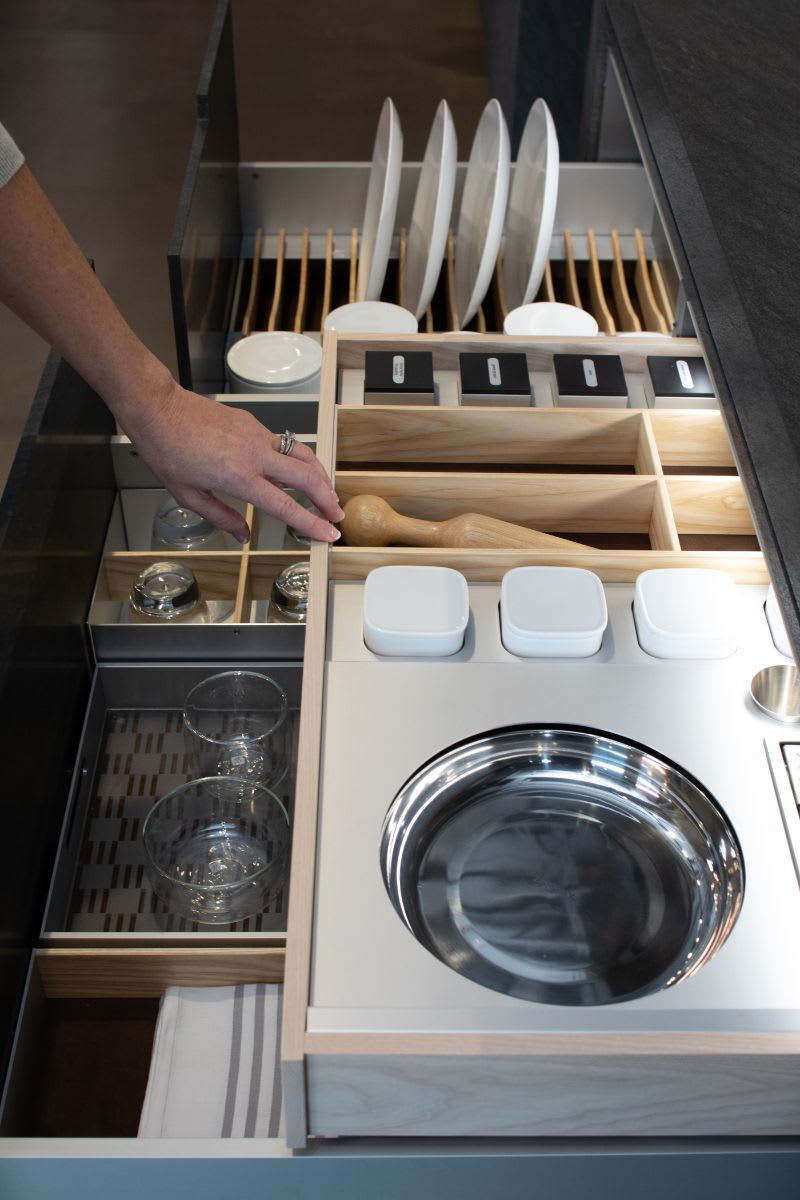 slide-out boxtec drawer organizer maximizes use of space in eggersmann cabinetry