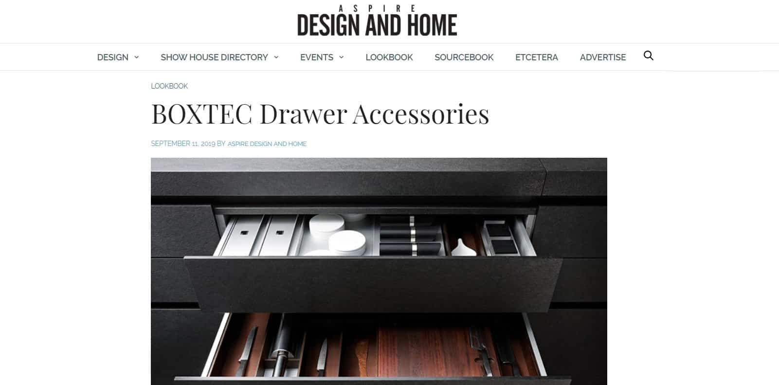 aspire desig and -home article featuring eggersmann boxtec drawer accessories and organizers