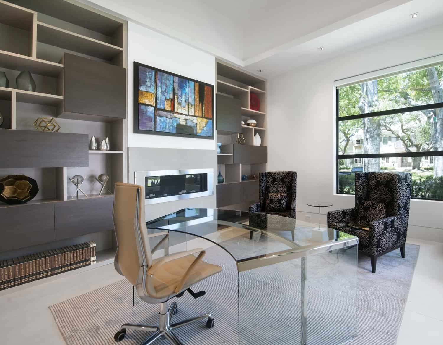 eggersmann display shelving and storage drawers add interest and function to the office of this contemporary home in houston