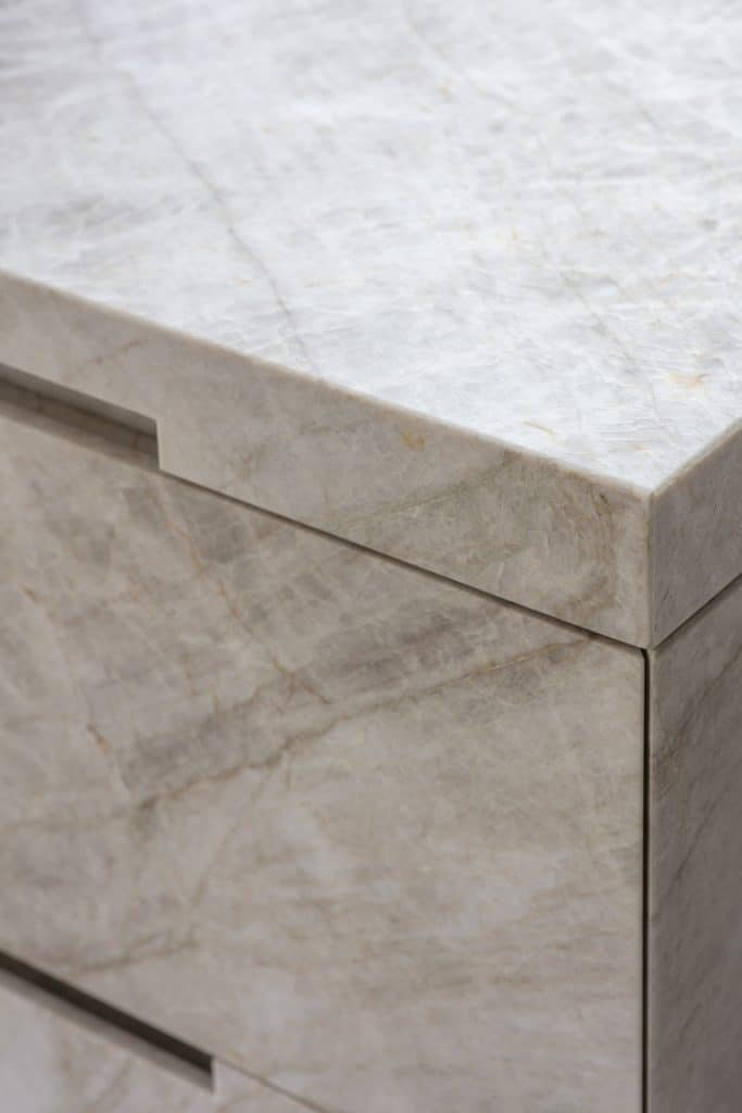 detailed finished edge of the taj mahal quartz which is part of the project nominated for sbid international design award 2019
