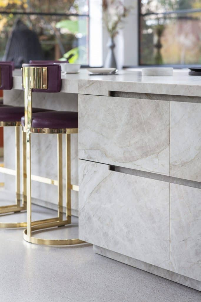 handleless drawers in an island of taj mahal quartz which is part of the project nominated for sbid international design award 2019
