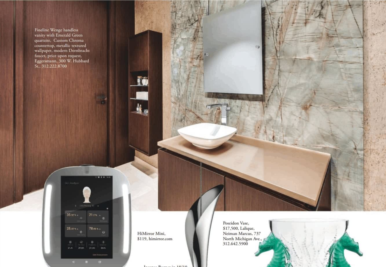 eggersmann's elegant luxury bath with floating mirror featured in sophisticated living magazine