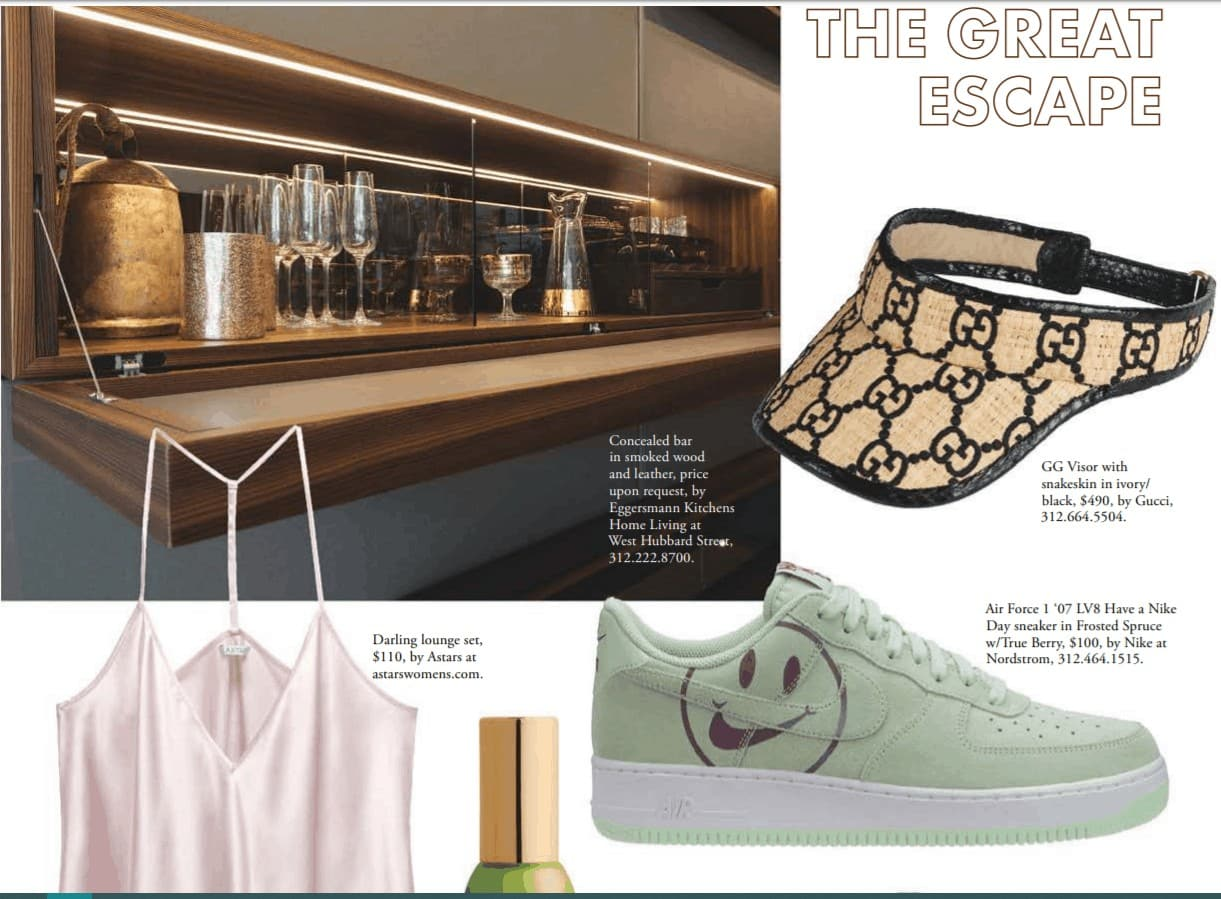 eggersmann's hidden bar with fold-down serving surface featured in sophisticated living magazine
