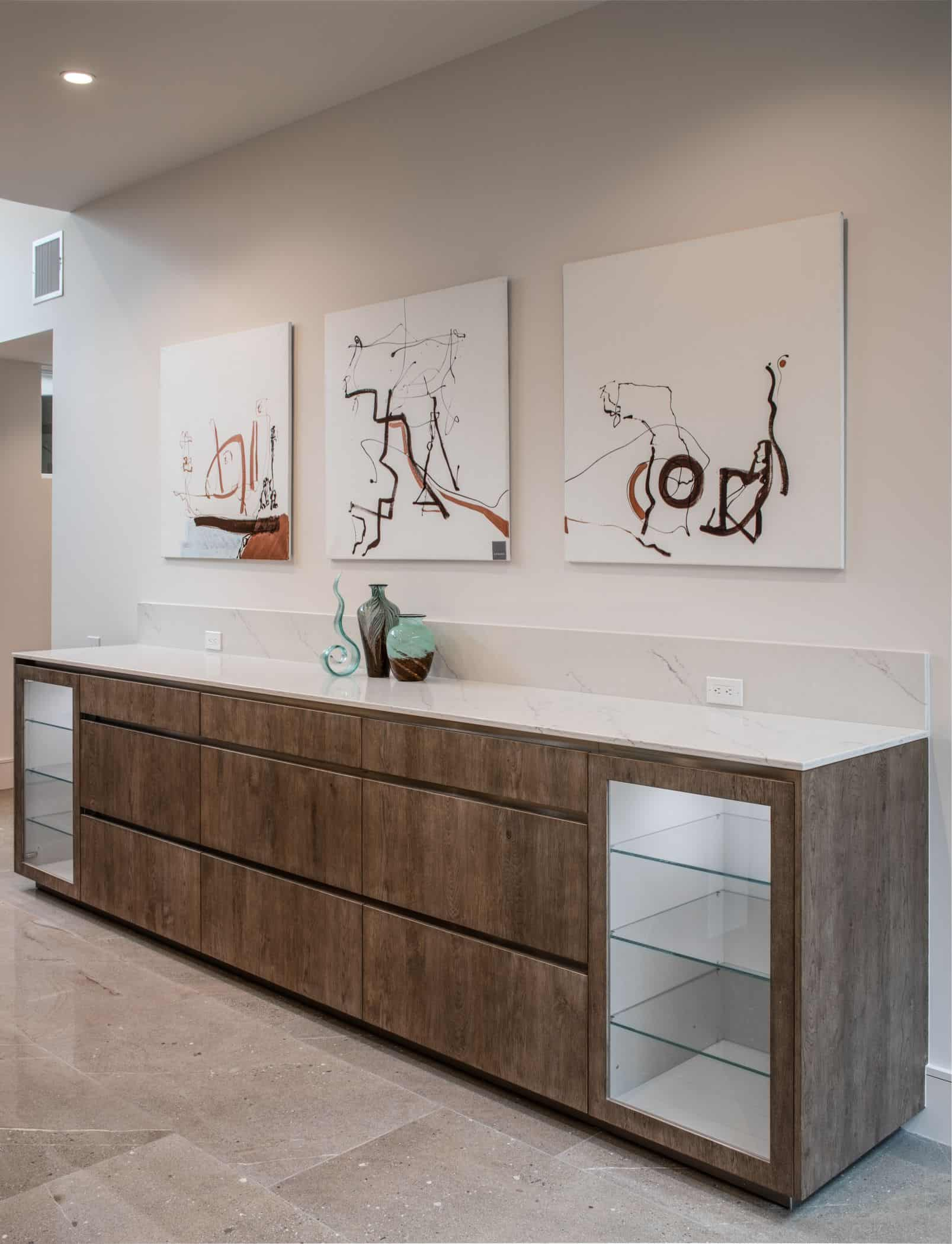 custom cabinetry credenza/buffet in a washington coalition memorial park area home in houston