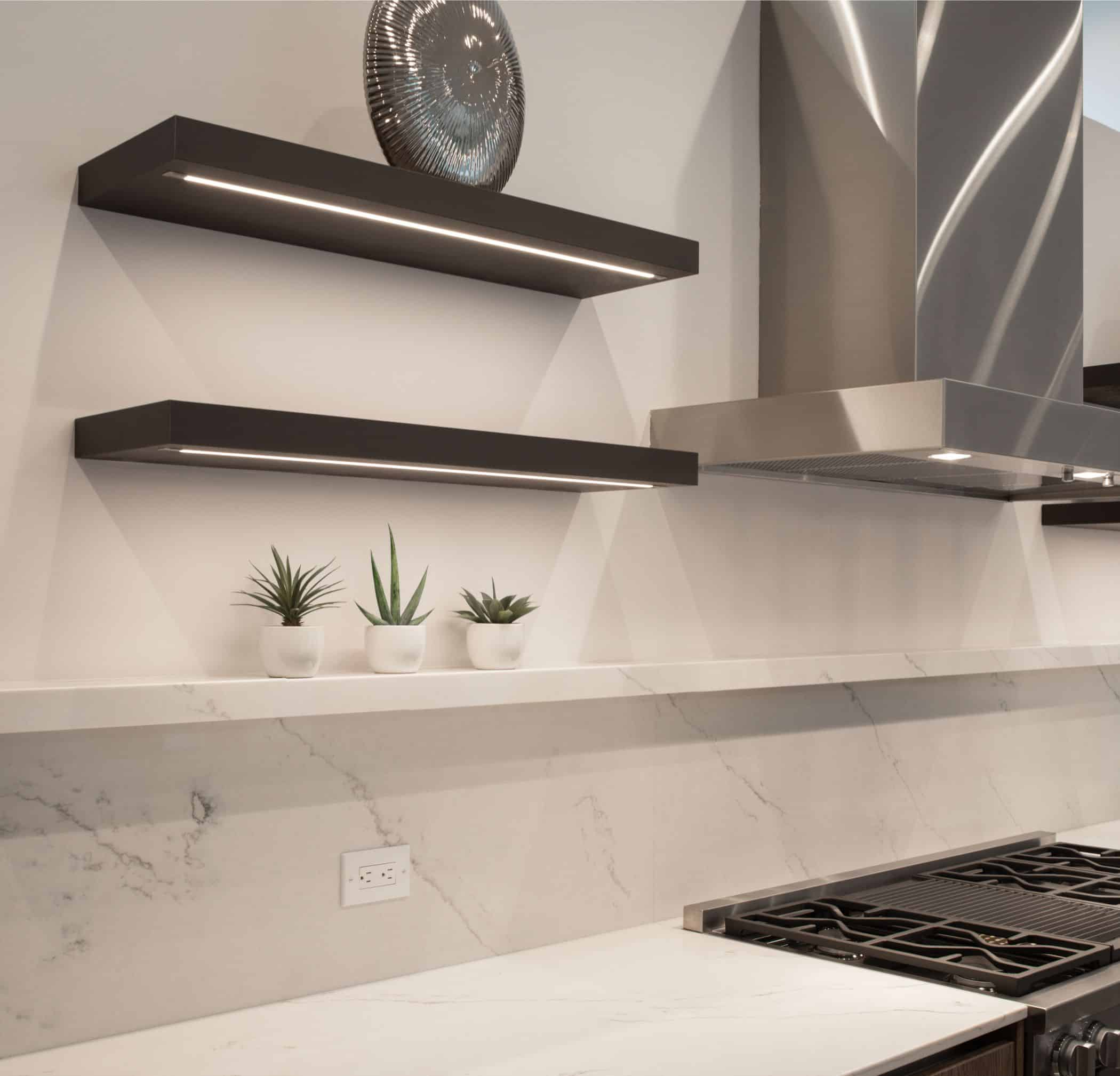closeup of the new stove with raised ledge detail and display shelves in a washington coalition memorial park area home in houston