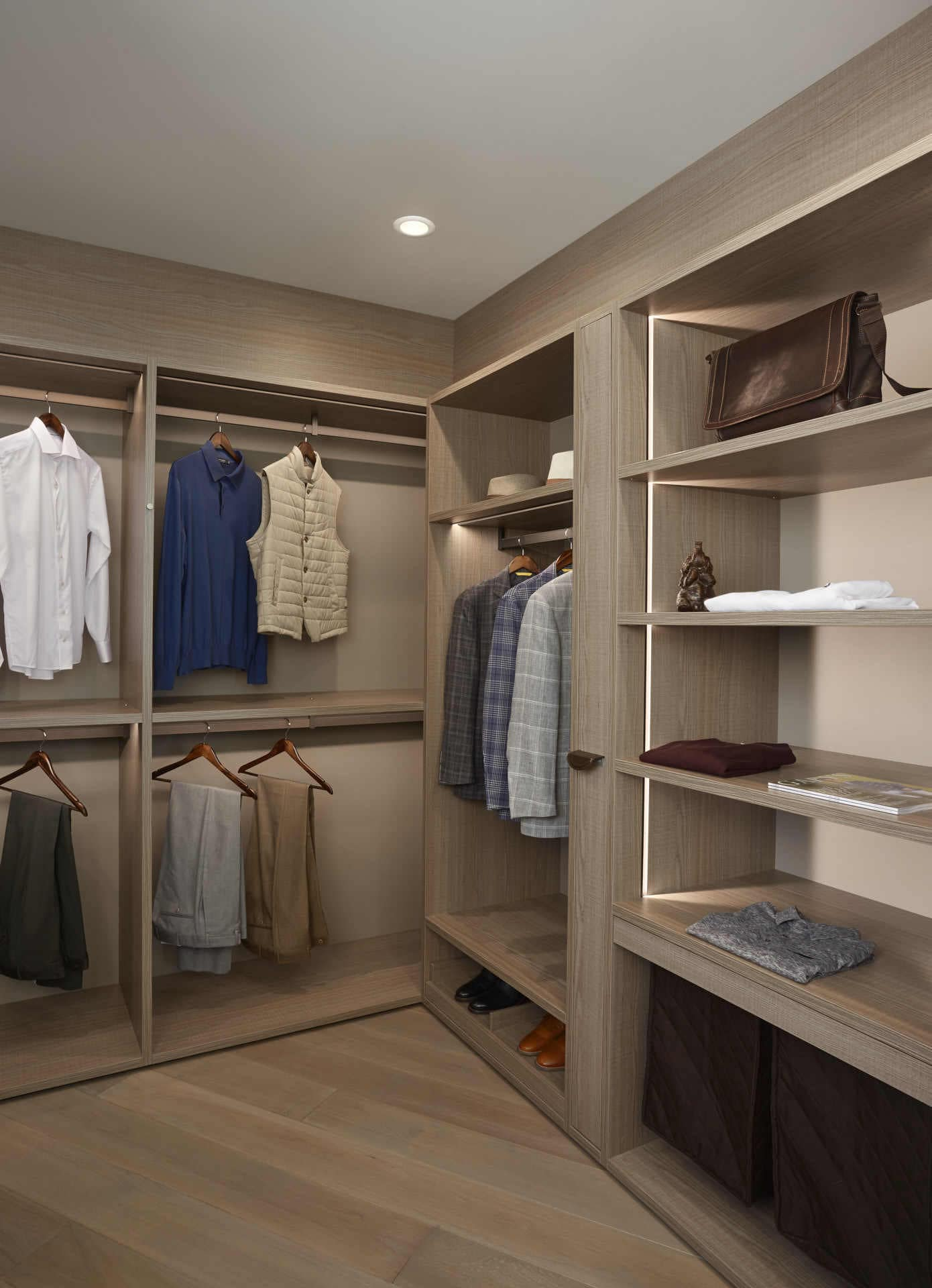 his schmalenbach closet designed by eggersmann features horizontal and vertical integrated led lighting