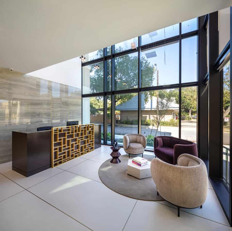 lobby of the mondrian luxury apartments in hermann park of houston