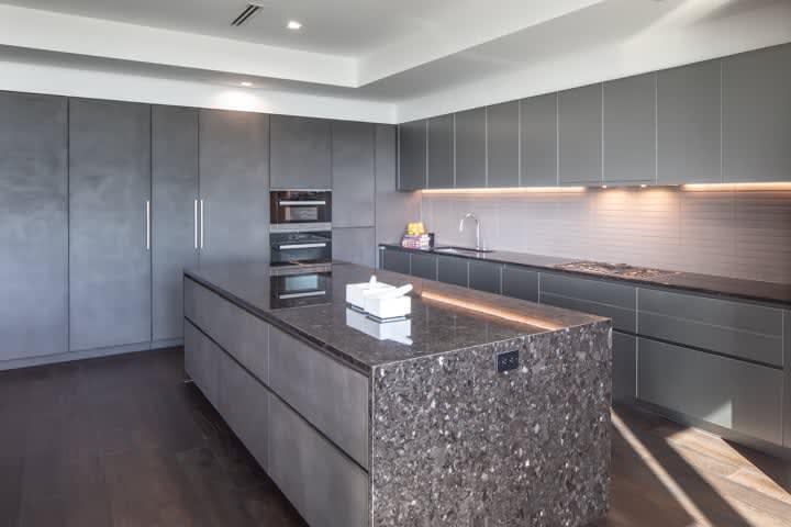 unique stone kitchen in unit 601 kitchen at the mond luxury condos