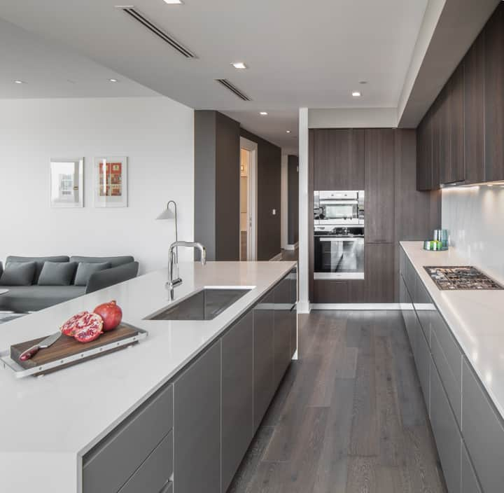luxury german cabinetry and high-end miele appliances in the condo unit 730 of the mond at the museums