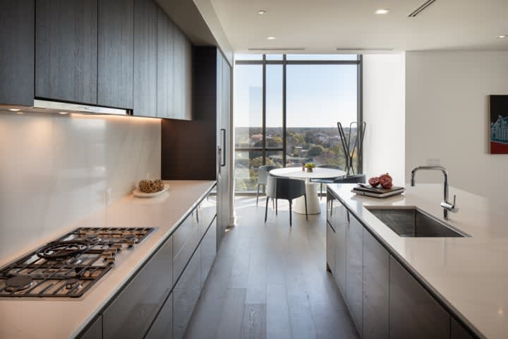 luxury kitchen with a million dollar view of hermann park in in the condo unit 730 of the mond at the museums