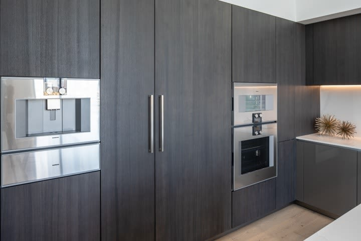 integrated gaggenau appliances in custom tall cabinets in the penthouse condo unit 801 of the mond at the museumswall