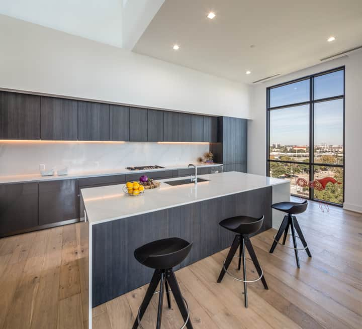 eat-in luxury German kitchen with a view in the penthouse condo unit 801 of the mond at the museums