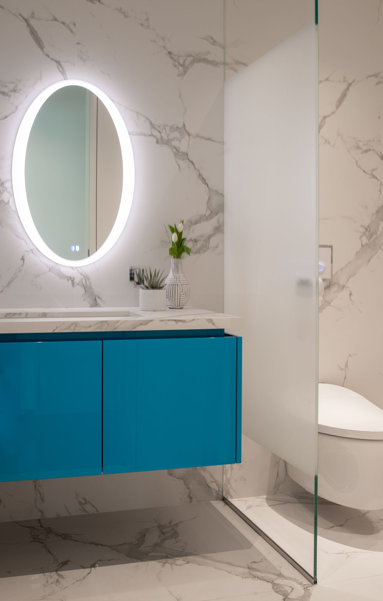 eggersmann custom porsche blue on a powder room vanity is achieved with a custom lacquer system