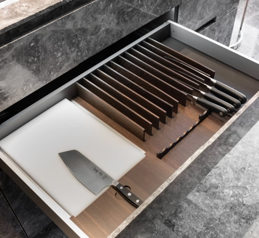 knife drawer in german cabinetry in the huntingdon luxury high-rise on kirby in houston