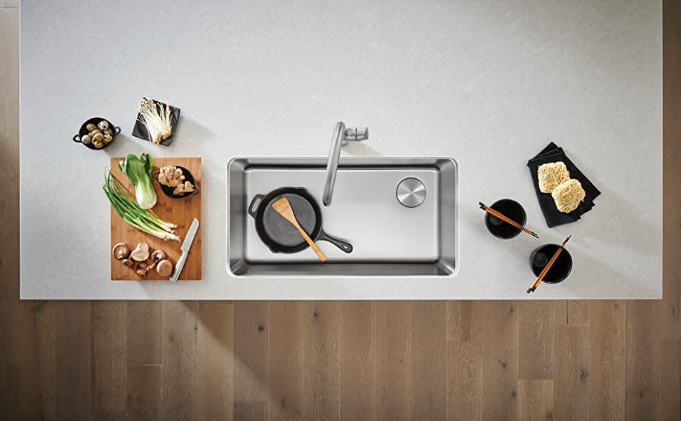 blano kitchen sink with corner drain used in the parklane kitchens by eggersmann