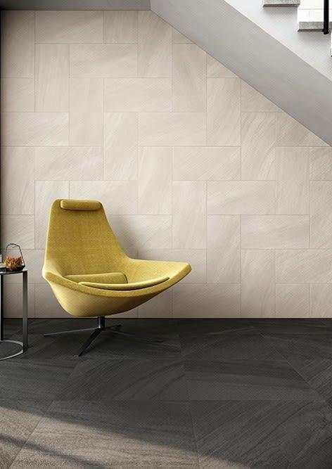 sample installation of Caesar Origin Boulder tiles used in baths designed by eggersmann for the parklane luxury condos in houston