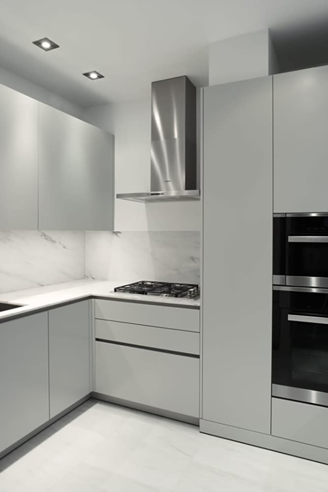german cabinets in Como Light Grey finish used for bath cabinetry in the divinely urban collection by eggersmann for the parklane luxury condos in houston