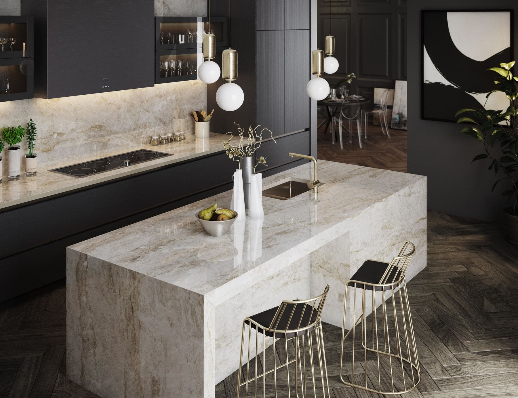 dekton arga countertop finish is used in the parklane's rustic chic finish package by eggersmann