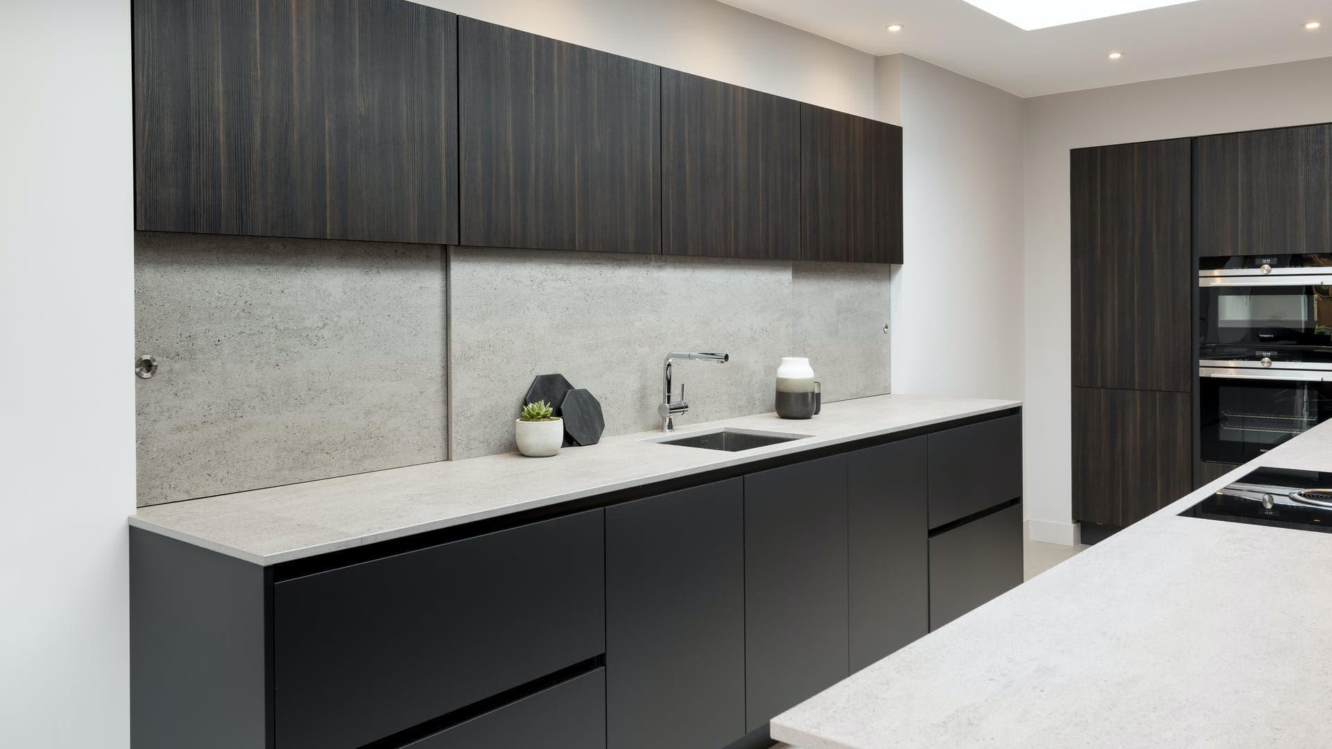 sample installation for dekton keon countertop material used for bath counters on german cabinetry for baths designe by eggersmann for the parklane luxury condos in houston