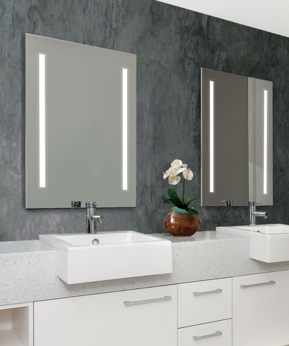 double vanities with cordova charisma mirrors installed in all eggersmann-design baths in the parklane luxury condos