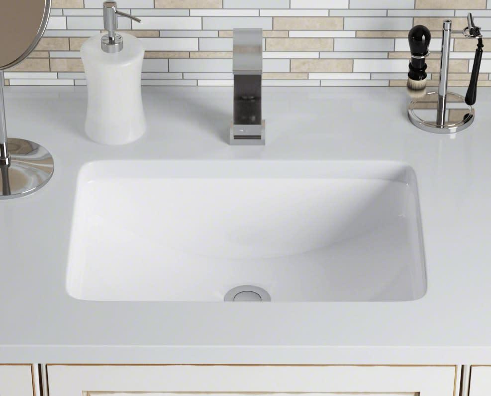 closeup of revere porcelain bath sink installed in all eggersmann-design baths in the parklane luxury condos
