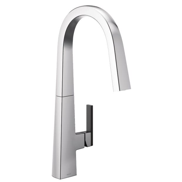 Moen Nio Chrome kitchen faucet with black handleused in eggeresmann designed kitchens in luxury high rise condos in The Parklane in Houston