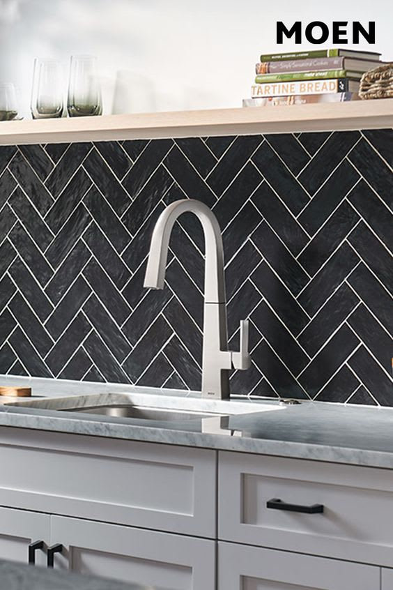 Moen Nio Chrome kitchen faucet used in eggeresmann designed kitchens in luxury condos in The Parklane