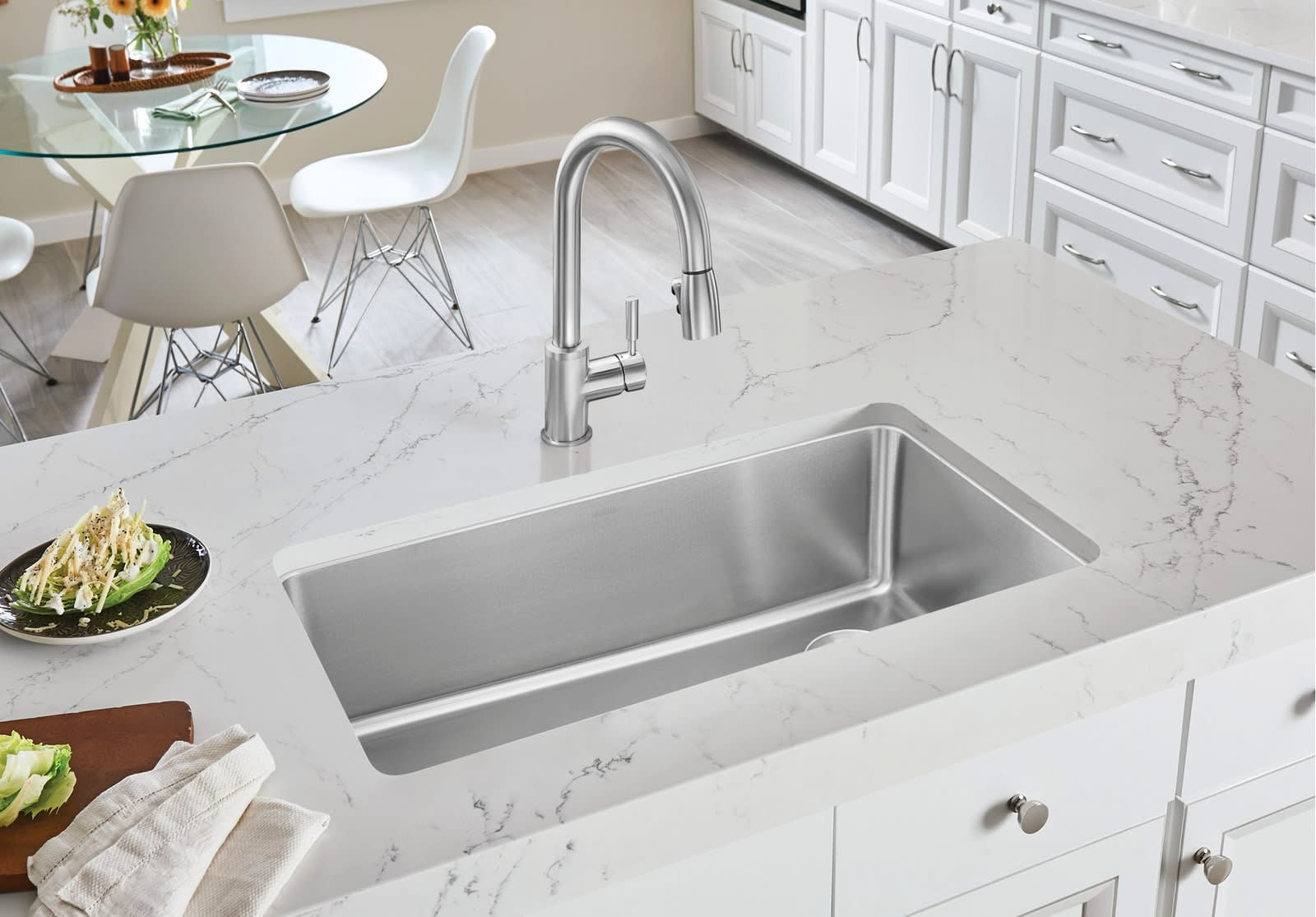blano stainless steel kitchen sink with corner drain used in the parklane kitchens by eggersmann