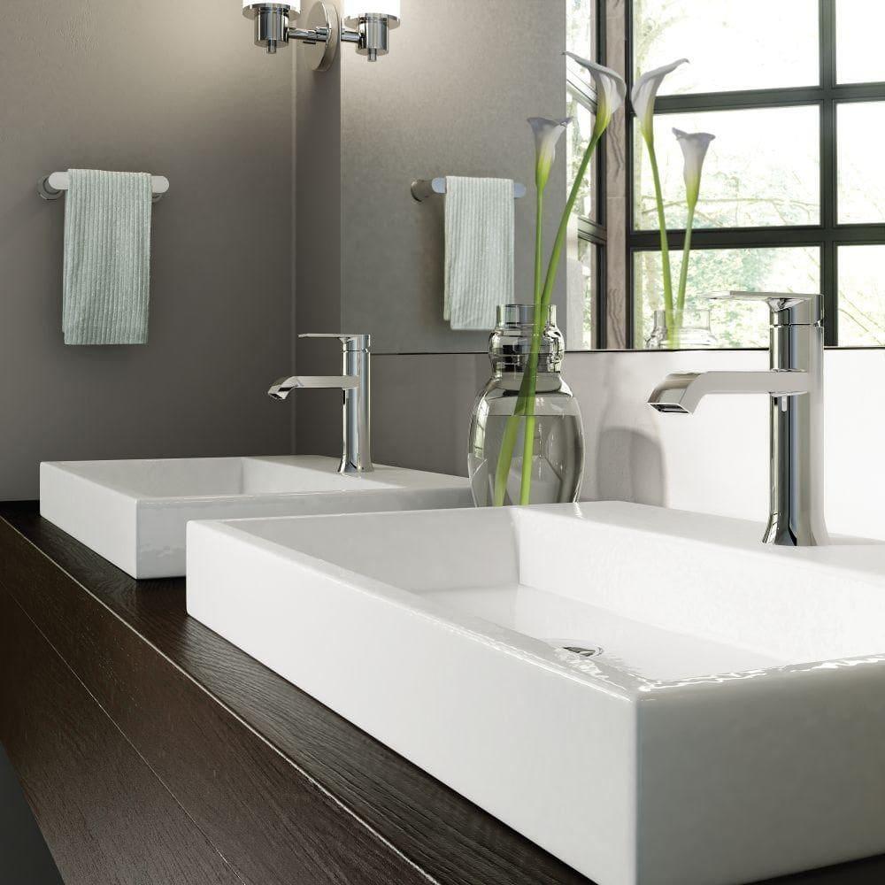 Moen Genta Chrome Bath Fixtures installed in The Parklane luxury high rise units in eggersmann designed baths