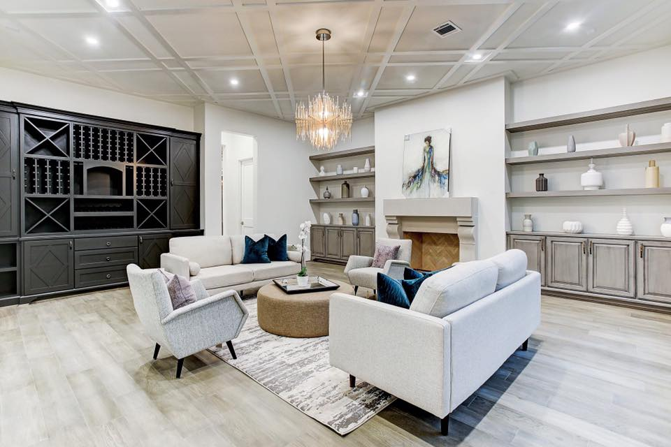 example living room installation of Chateau Malbec flooring used in eggersmann-designed condos in The Parklane Houston