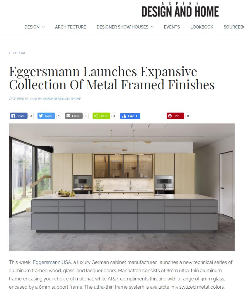 eggersmann glass featured in Aspire