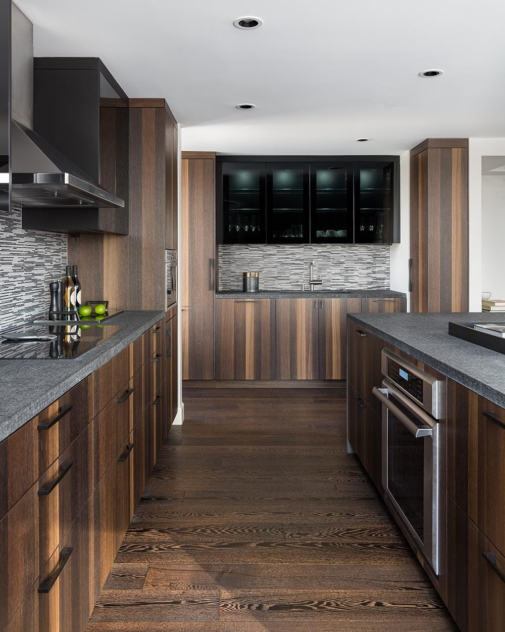 Modern Kitchen in Warm Woods and Tones of Grey
