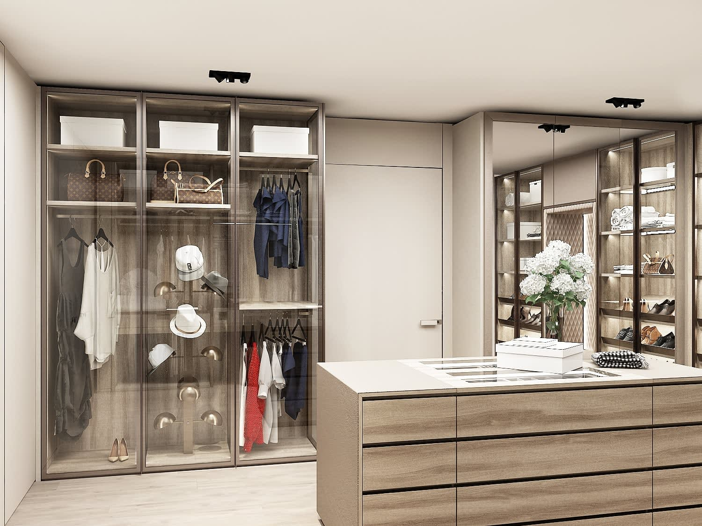 rendering of luxury walk-in schmalenbach wardrobe display under construction in the eggersmann la showroom featuring innovative storage options