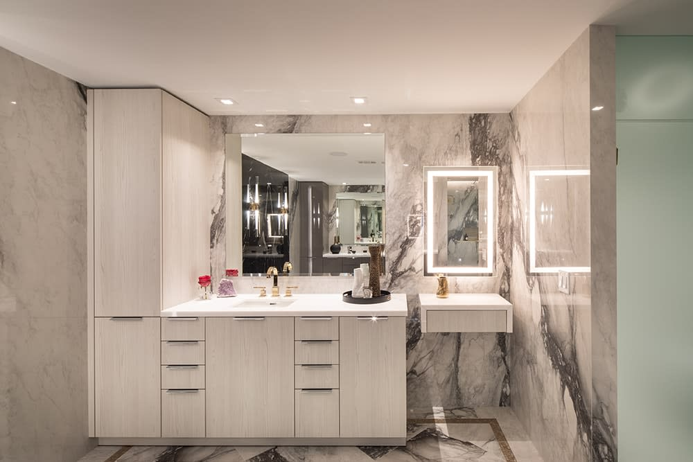 bath with cabinetry in eggersmann's trondheim ash white finish