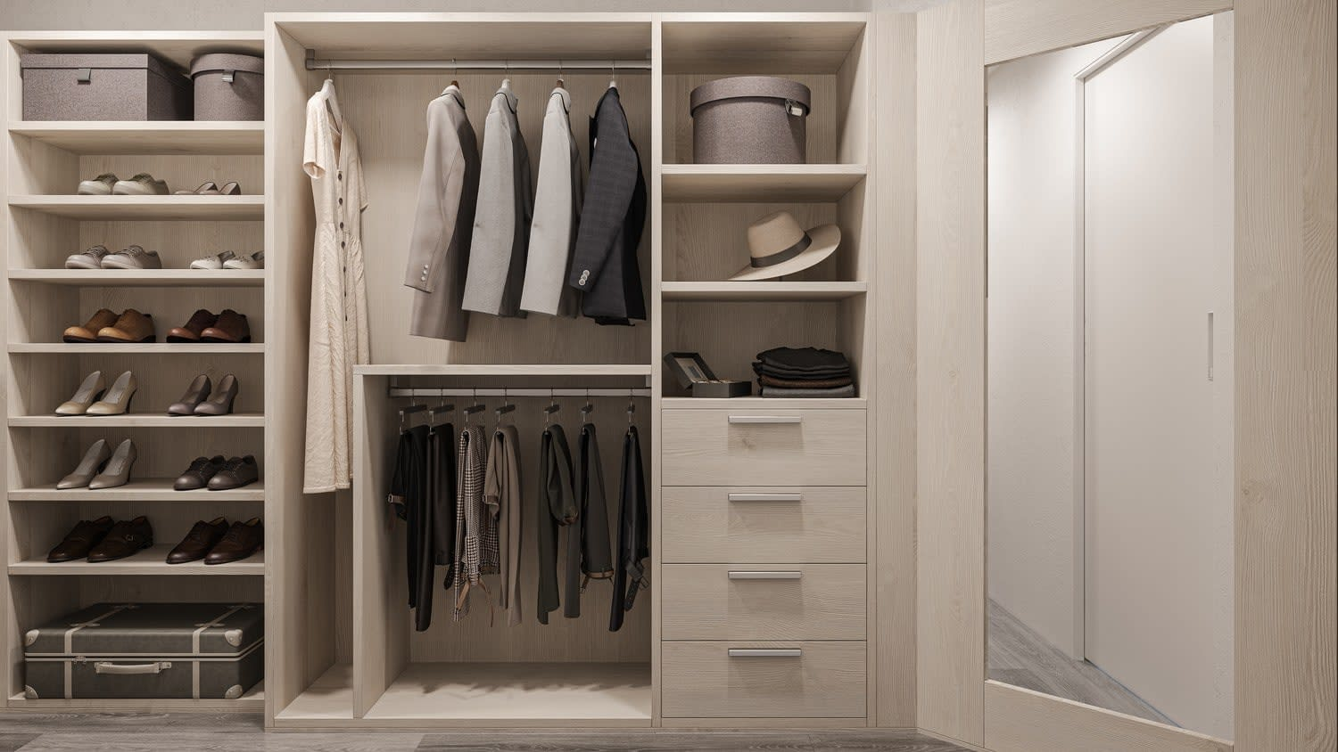 rendering of a parklane walk-in wardrobe design by eggersmann including shoe storage, hanging space, and built-in drawers