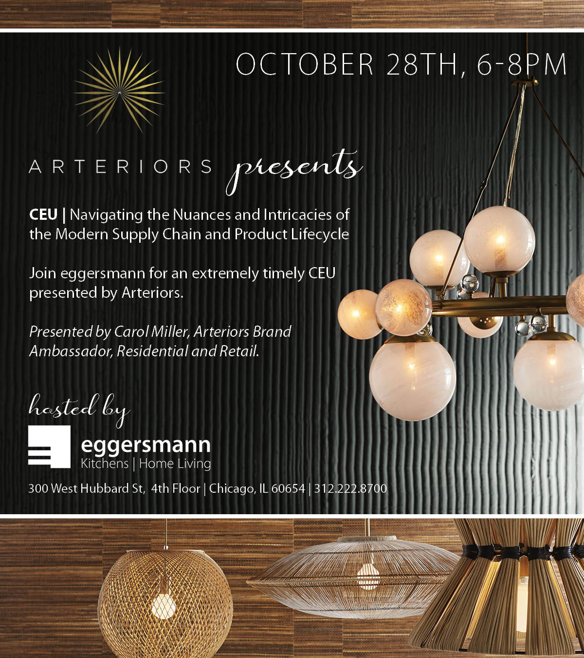 """event announcement about arteriors presenting """"navigating the nuances"""" of b2b supply chains for design projects"""