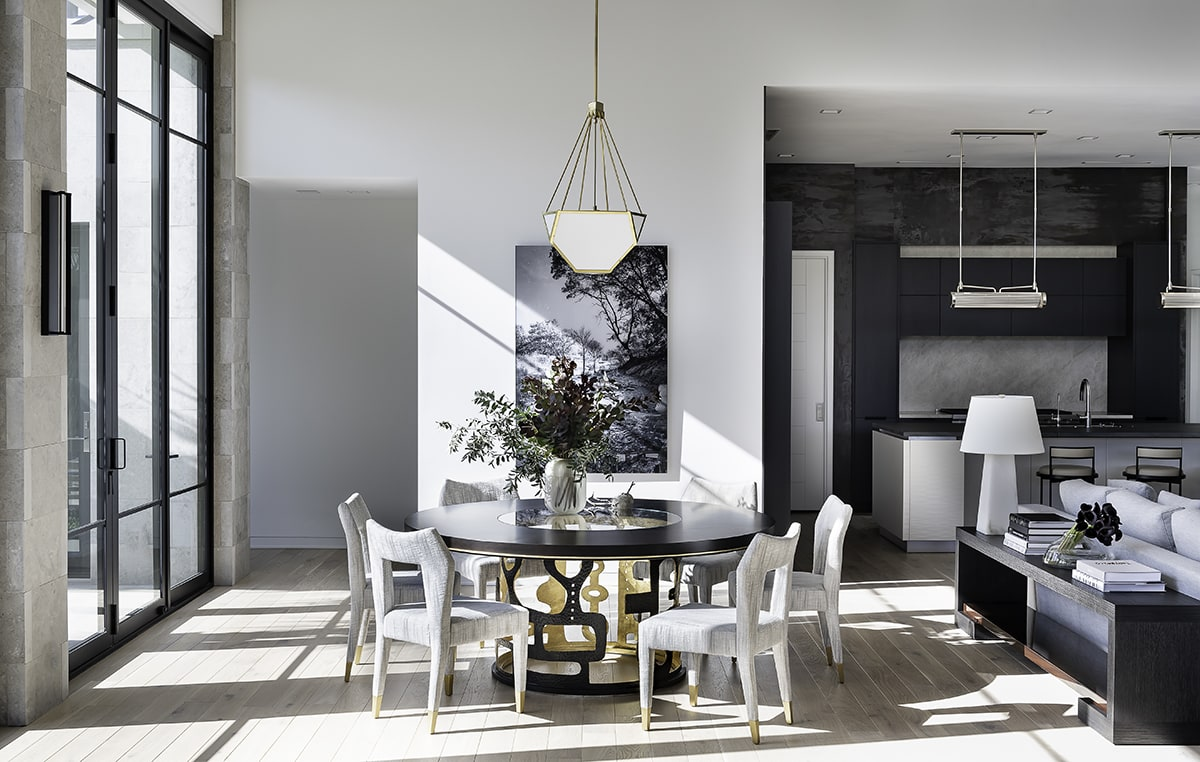 bright airy dining area of a southwest contemporary kitchen designed by eggersmann dallas