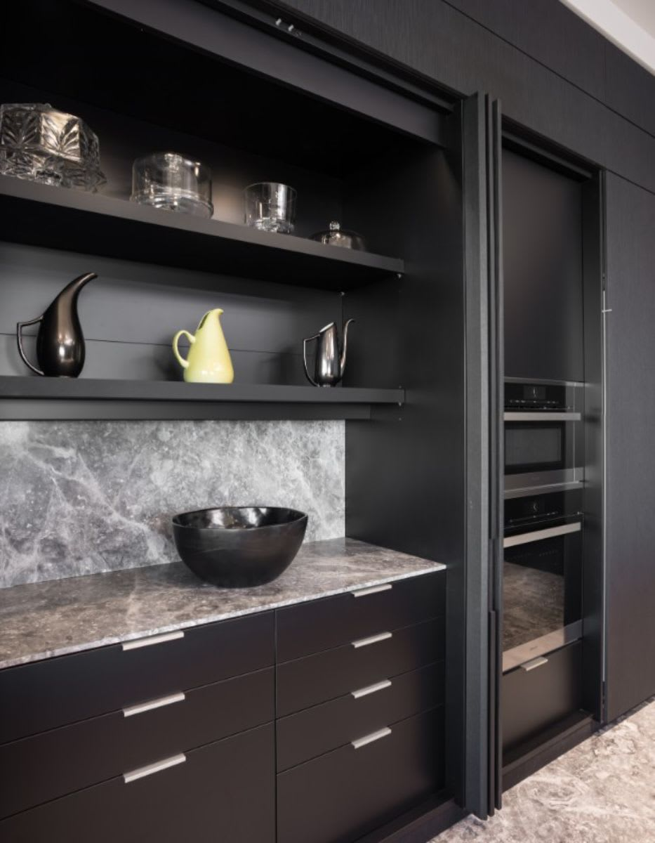 Though usually concealed, the buffet-style prep area is just as gorgeous as the fronts